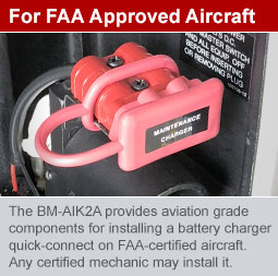 BatteryMINDer charging quick-connect for FAA certified aircraft